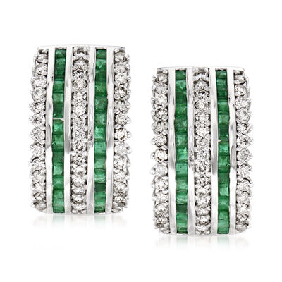 C. 1980 Vintage 1.75 ct. t.w. Emerald and 1.25 ct. t.w. Diamond Clip-On Earrings in 14kt White Gold, , default