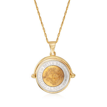 18kt Gold Over Sterling Genuine Lira Coin Pendant Necklace