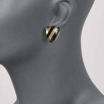 C. 1990 Vintage Angela Cummings Black Onyx Striped Clip-On Earrings in 18kt Yellow Gold , , default