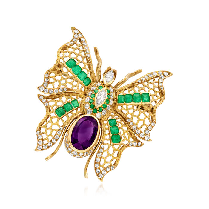 C. 1990 Vintage 5.95 Carat Amethyst, 3.10 ct. t.w. Emerald and 2.70 ct. t.w. Diamond Butterfly Pin/Pendant in 18kt Yellow Gold, , default