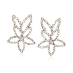C. 1990 Vintage 1.15 ct. t.w. Diamond Open Flower Earrings in 14kt White Gold, , default