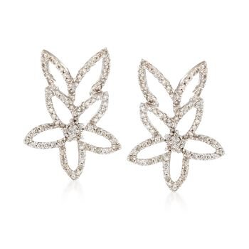 C. 1990 Vintage 1.15 ct. t.w. Diamond Open Flower Earrings in 14kt White Gold., , default
