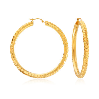 Andiamo 14kt Yellow Gold Twisted Hoop Earrings