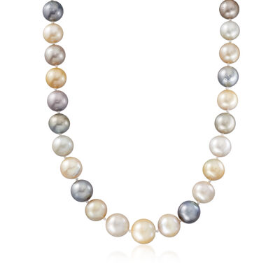 C. 1980 Vintage 10-14mm Multicolored Cultured Pearl Necklace with 14kt Yellow Gold