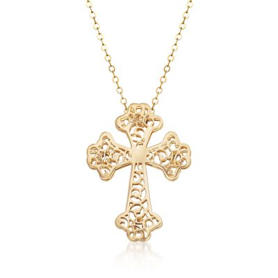 Italian 14kt Yellow Gold Filigree Cross Pendant Necklace, , default