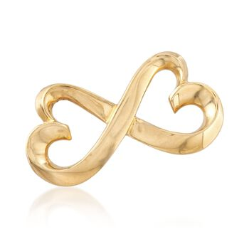"""C. 1990 Vintage Tiffany Jewelry """"Paloma Picasso"""" 18kt Yellow Gold Double Loving Heart Pin , , default"""