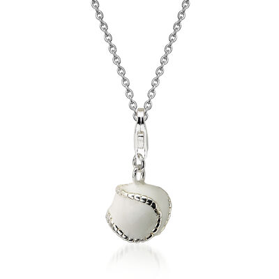 "Sterling Silver 3-D Enamel Baseball Lobster Clasp Charm Necklace. 18"", , default"