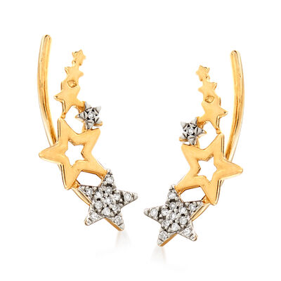 14kt Yellow Gold Multi-Star Ear Climbers with Diamond Accents