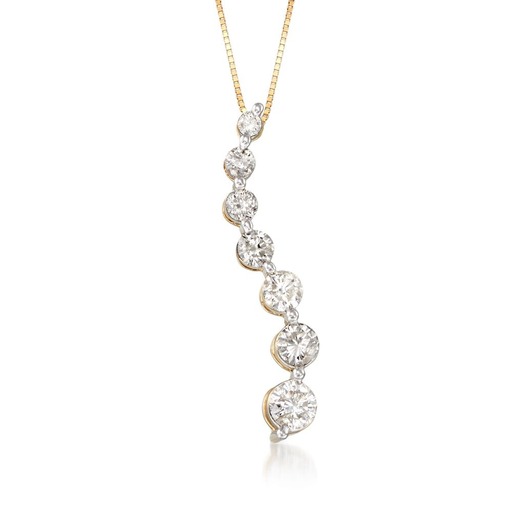 100 ct tw diamond journey pendant necklace in 14kt yellow gold tw diamond journey pendant necklace in 14kt yellow gold 18quot aloadofball Choice Image