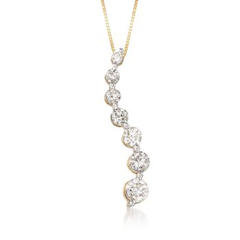 """1.00 ct. t.w. Diamond Journey Pendant Necklace in 14kt Yellow Gold. 18"""", , default"""