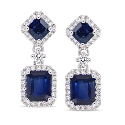 2.30 ct. t.w. Sapphire and .37 ct. t.w. Diamond Drop Earrings in 14kt White Gold