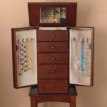 Walnut Simple Tradition 4-Drawer Jewelry Armoire, , default