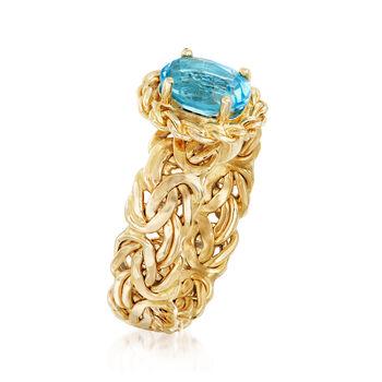 1.50 Carat Blue Topaz Byzantine Ring in 14kt Yellow Gold