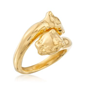 Italian Andiamo 14kt Yellow Gold Panther Bypass Ring , , default