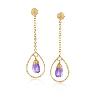 4.00 ct. t.w. Amethyst Teardrop Earrings in 18kt Gold Over Sterling, , default