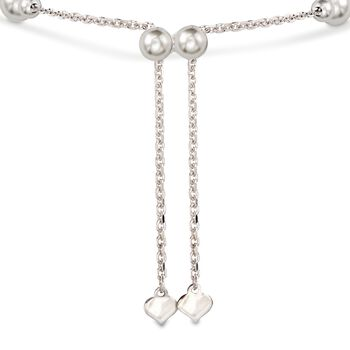 Sterling Silver Personalized Heart and Bead Bolo Bracelet, , default