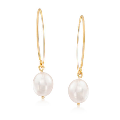 8mm Cultured Pearl Loop Earrings in 14kt Yellow Gold
