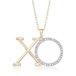 ".25 ct. t.w. Diamond XO Pendant Necklace in 14kt Yellow Gold. 16"", , default"