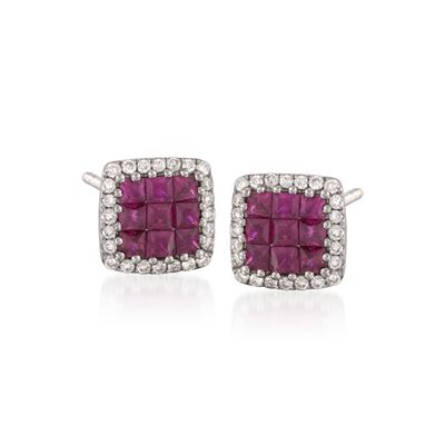 Gregg Ruth .73 ct. t.w. Ruby and .20 ct. t.w. Diamond Stud Earrings in 18kt White Gold, , default