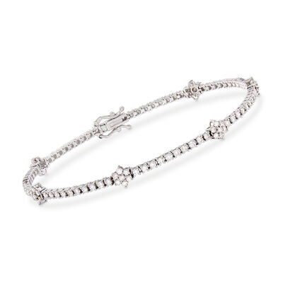 2.50 ct. t.w. Diamond Flower Station Bracelet in 14kt White Gold, , default