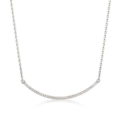 Sterling Silver Curved Bar Bolo Necklace With Diamond Accents, , default