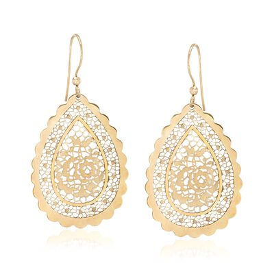 Italian 18kt Yellow Gold Floral Openwork Teardrop Earrings, , default