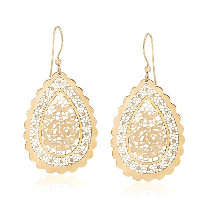 Italian 18kt Yellow Gold Floral Openwork Teardrop Earrings
