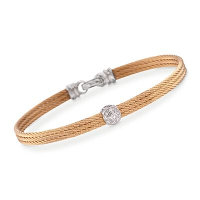 "ALOR ""Classique"" Diamond Station Yellow Cable Bracelet with 18kt White Gold, , default"