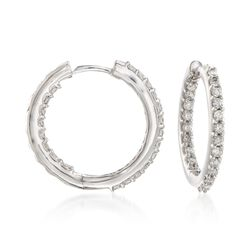 ".75 ct. ct. t.w. Diamond Inside-Outside Hoop Earrings in 14kt White Gold. 5/8"", , default"