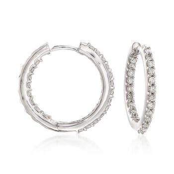 """.75 ct. ct. t.w. Diamond Inside-Outside Hoop Earrings in 14kt White Gold. 5/8"""", , default"""
