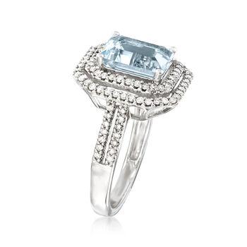 2.30 Carat Aquamarine and .52 ct. t.w. Diamond Ring in 18kt White Gold, , default