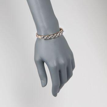 "C. 1950 Vintage 1.00 ct. t.w. Diamond Woven Bangle Bracelet in 14kt Yellow Gold. 7"", , default"