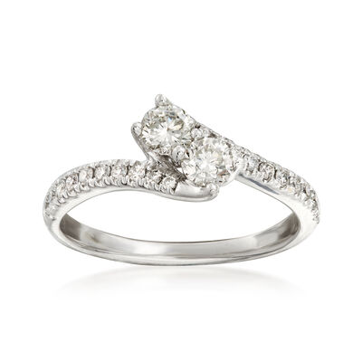 C. 1990 Vintage .90 ct. t.w. Diamond Bypass Ring in 14kt White Gold