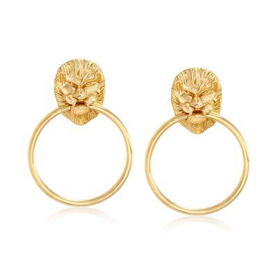 Italian 18kt Yellow Gold Over Sterling Silver Lion Head Doorknocker Earrings, , default