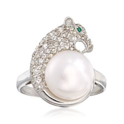 10-11mm Cultured Pearl and 1.00 ct. t.w. White Topaz Panther Ring in Sterling Silver, , default