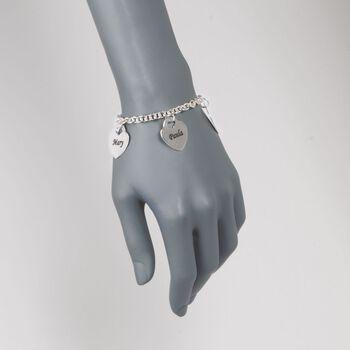"Sterling Silver Personalized 4-Heart Charm Bracelet. 7"", , default"