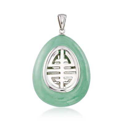 Green Jade Teardrop Pendant Necklace in Sterling Silver