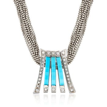 C. 1990 Vintage Turquoise and .70 ct. t.w. Diamond Slide Pendant Necklace in 18kt White Gold. 17""