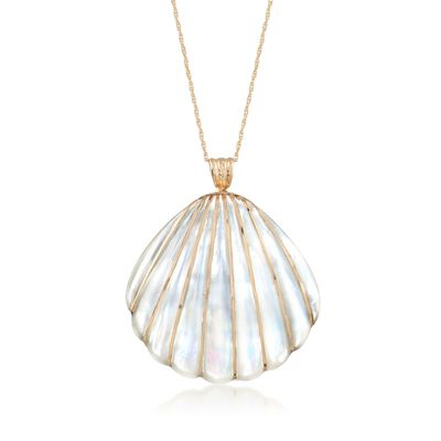 Mother-Of-Pearl Seashell Pendant Necklace with 4-4.5mm Cultured Pearls in 14kt Yellow Gold, , default
