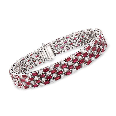 13.00 ct. t.w. Ruby and 5.88 ct. t.w. Diamond Tennis Bracelet in 18kt White Gold, , default