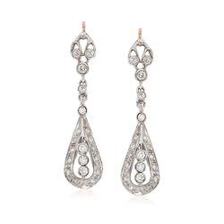 C. 1980 Vintage .75 ct. t.w. Diamond Drop Earrings in 14kt Two-Tone Gold, , default
