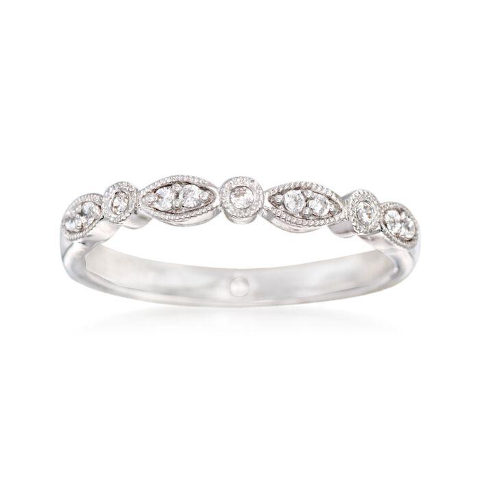 Gabriel Designs .11 ct. t.w. Diamond Wedding Ring in 14kt White Gold