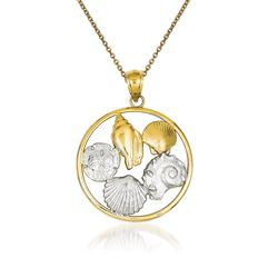 """14kt Two-Tone Gold Shell Pendant Necklace. 18"""", , default"""