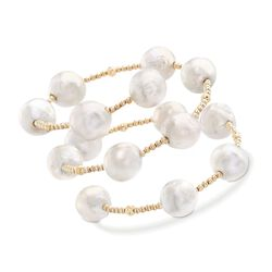 "11-13mm Cultured Baroque Pearl Station Wrap Bracelet in 14kt Yellow Gold. 6.5"", , default"