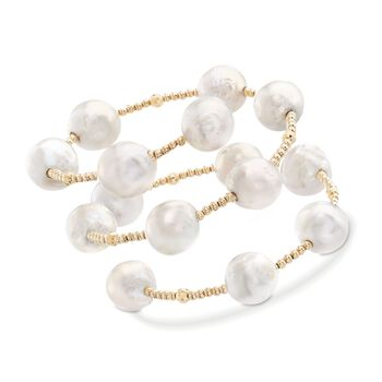 """11-13mm Cultured Baroque Pearl Station Wrap Bracelet in 14kt Yellow Gold. 6.5"""", , default"""