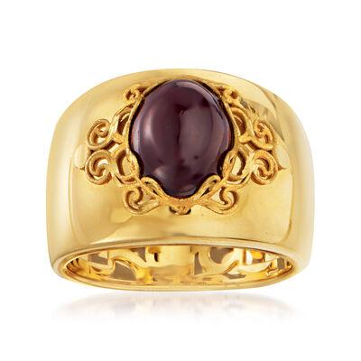 Italian 3.00 Carat Garnet Ring in 14kt Yellow Gold, , default
