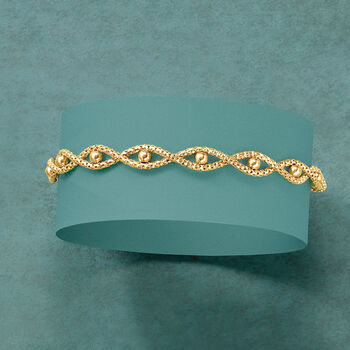 """IItalian 14kt Yellow Gold Twisted Chain and Bead Bracelet. 8"""", , default"""