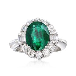 3.50 Carat Emerald and 1.20 ct. t.w. Diamond Ring in 14kt White Gold, , default