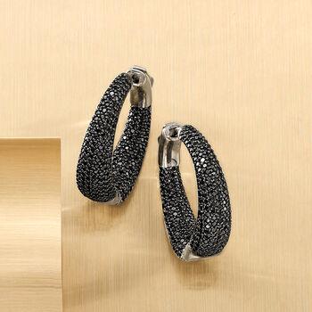 """.50 ct. t.w. Black Spinel Inside-Outside Hoop Earrings in Sterling Silver. 1"""""""