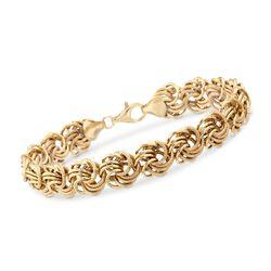 """Italian 24kt Gold Over Sterling Silver Rosette Bracelet. 8.25"""", , default"""